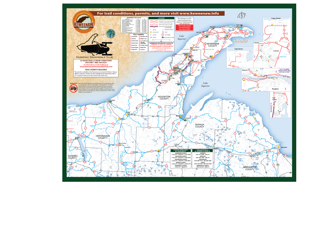 2019-2020 Keweenaw Snowmobile Trails Map